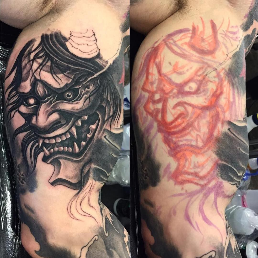Free Hand Hannya Mask On The Inner Bicep By Damon