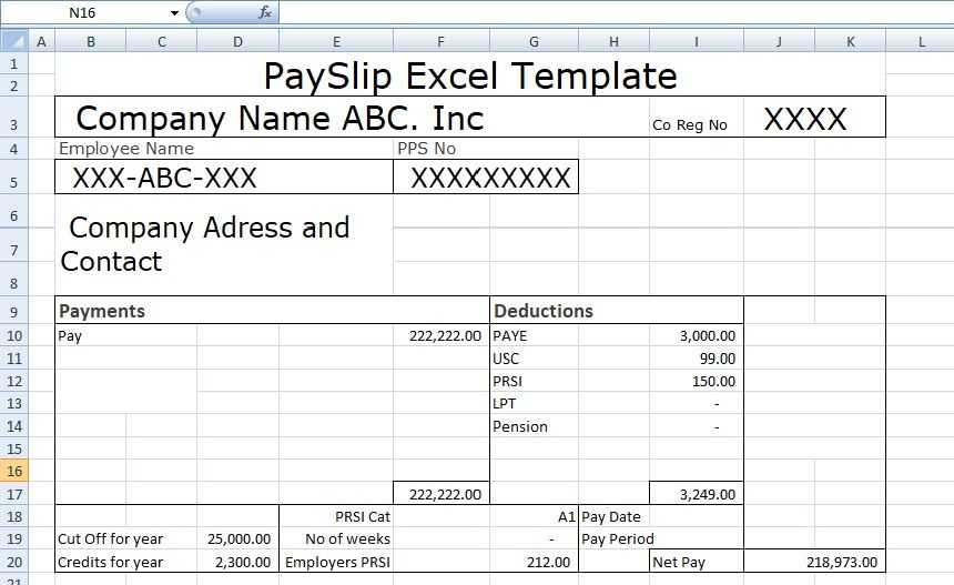 Payslip Template Format In Excel And Word is use for mentioning the - payslip in word format