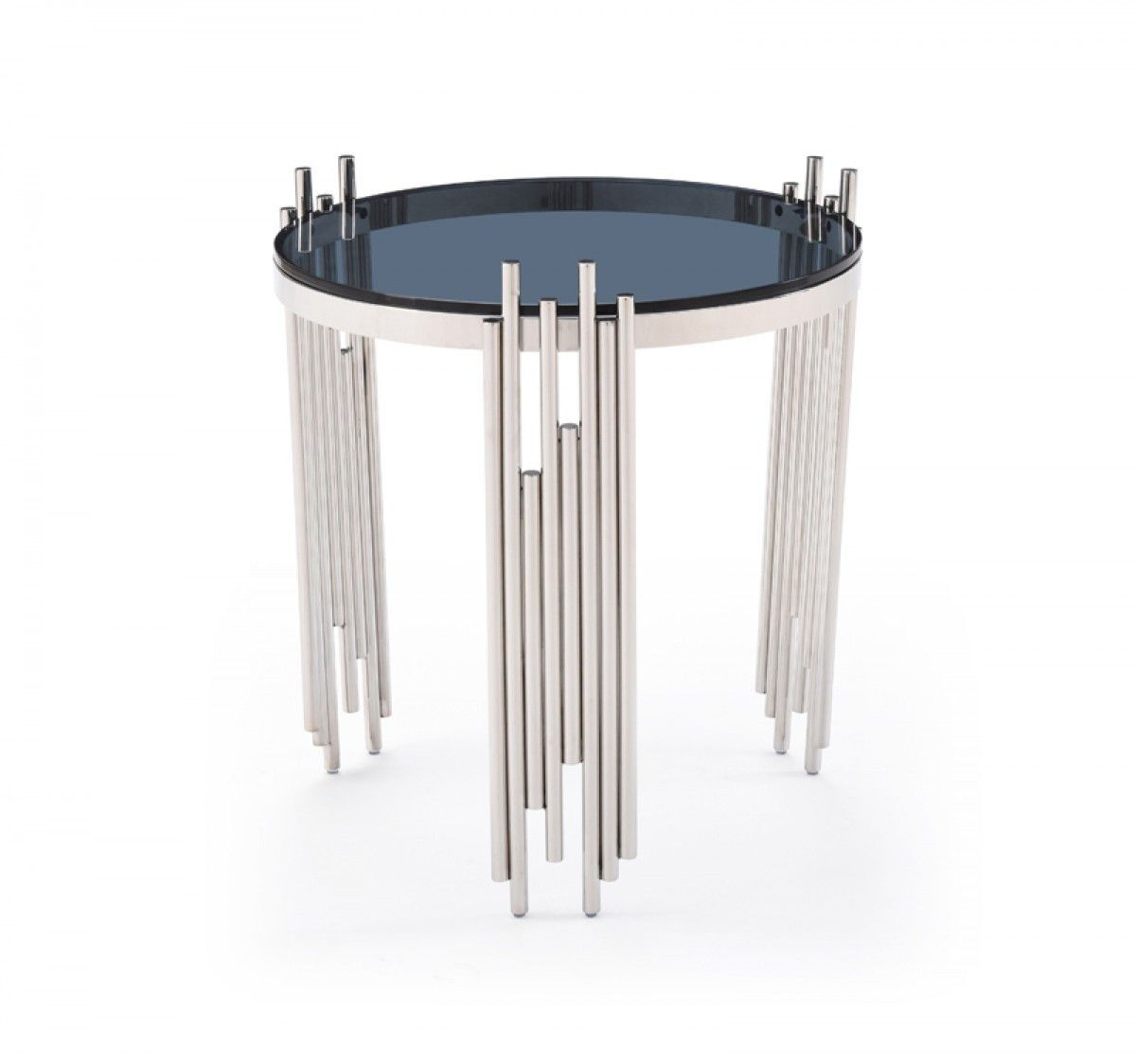 Modern glass end table  VIG Modrest Totem Modern Stainless Steel u Smoked Glass End Table