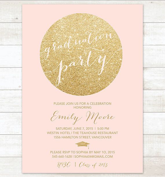 pink and gold graduation party invitation pink and gold glitter