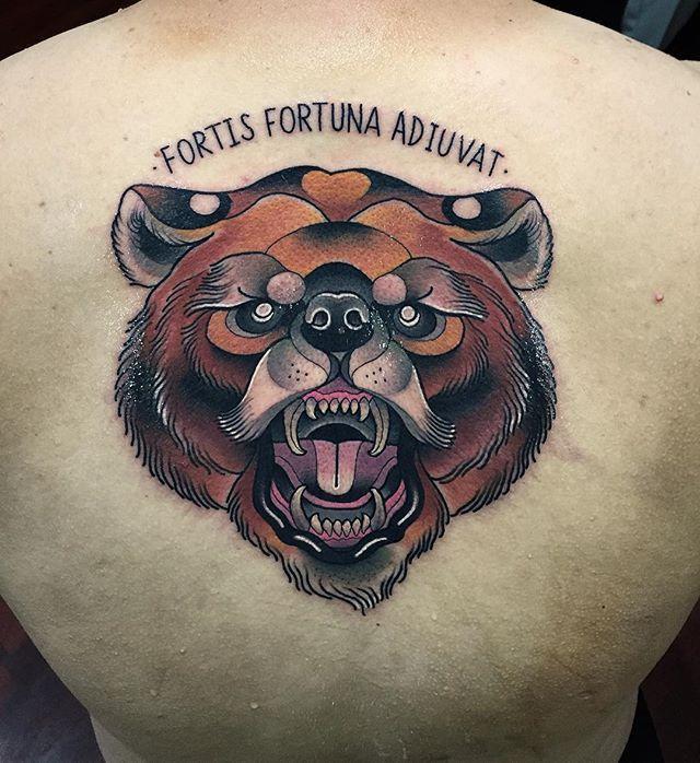 john mendoza tattoo neo traditional bear tattoo fortis fotuna