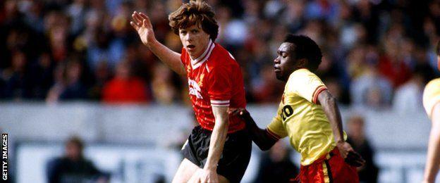 Steve Nicol in action against Watford in 1983