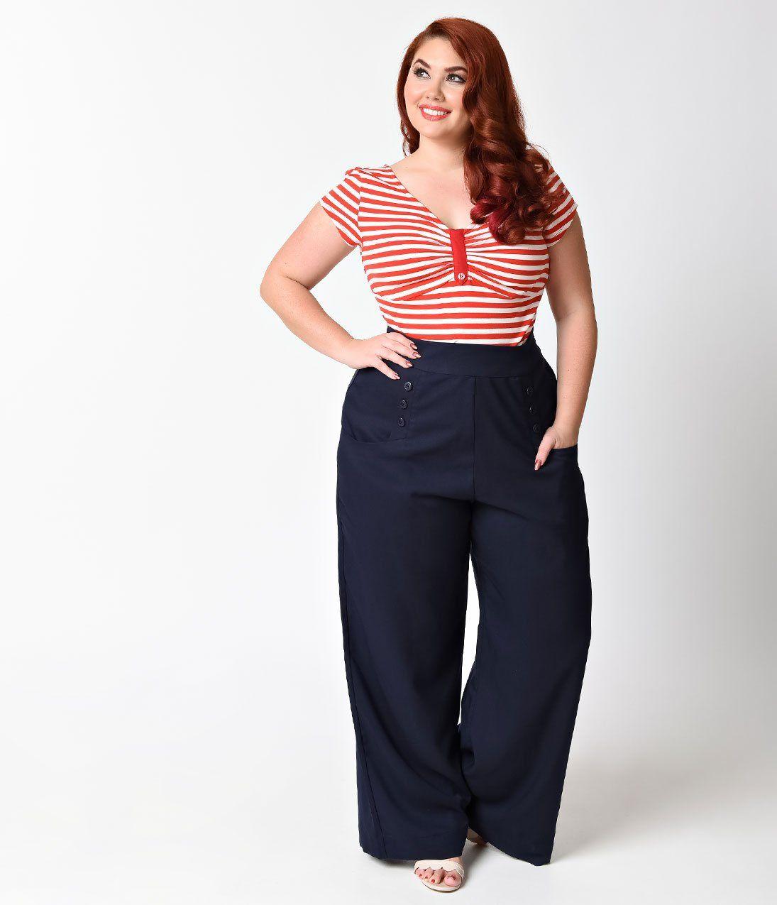 55fb63ca63d Unique Vintage Plus Size 1940s Navy Blue High Waist Sailor Ginger Pant
