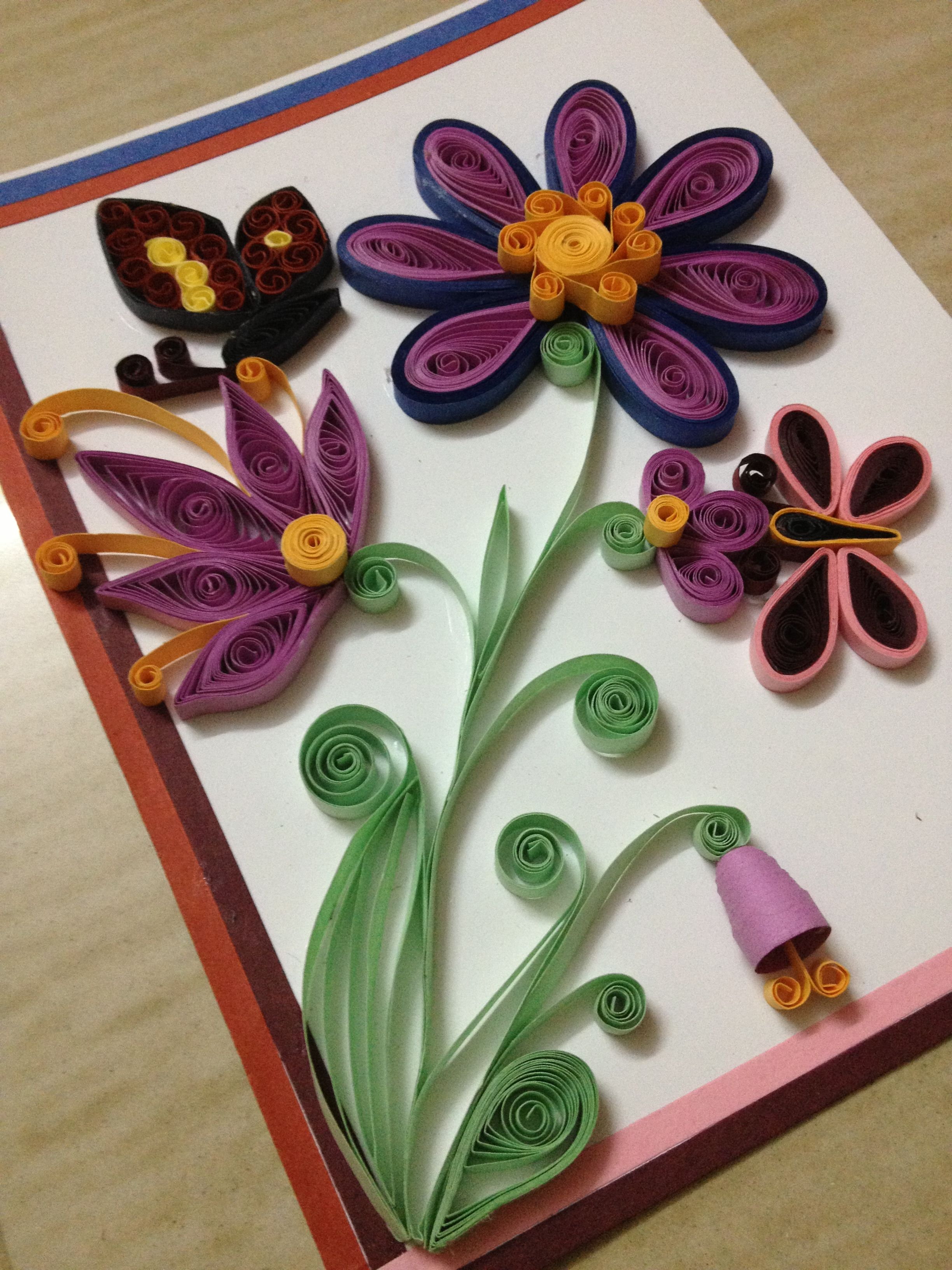 my first quilled card  quilling designs quilling cards