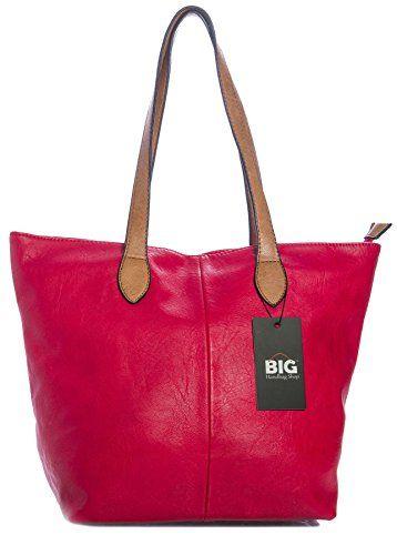 66338add69 Big Handbag Shop Womans Designer Plain Soft Lightweight Tote Shoulder Bag