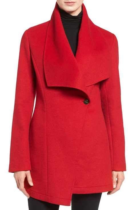 Laundry By Shelli Segal Double Face Drape Collar Coat Regular