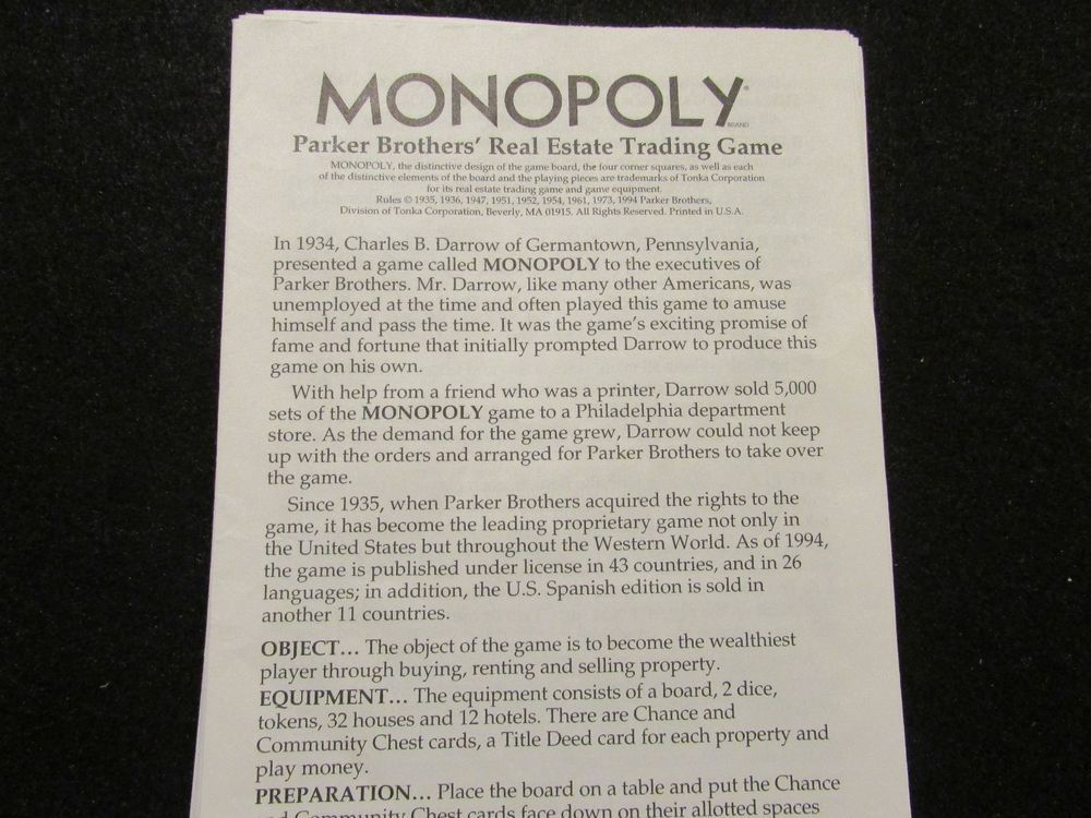 1994 Monopoly Rules And Directions Original Board Game Parts