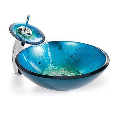 Kraus Galaxy Fire Blue Glass Vessel Sink And Waterfall Faucet