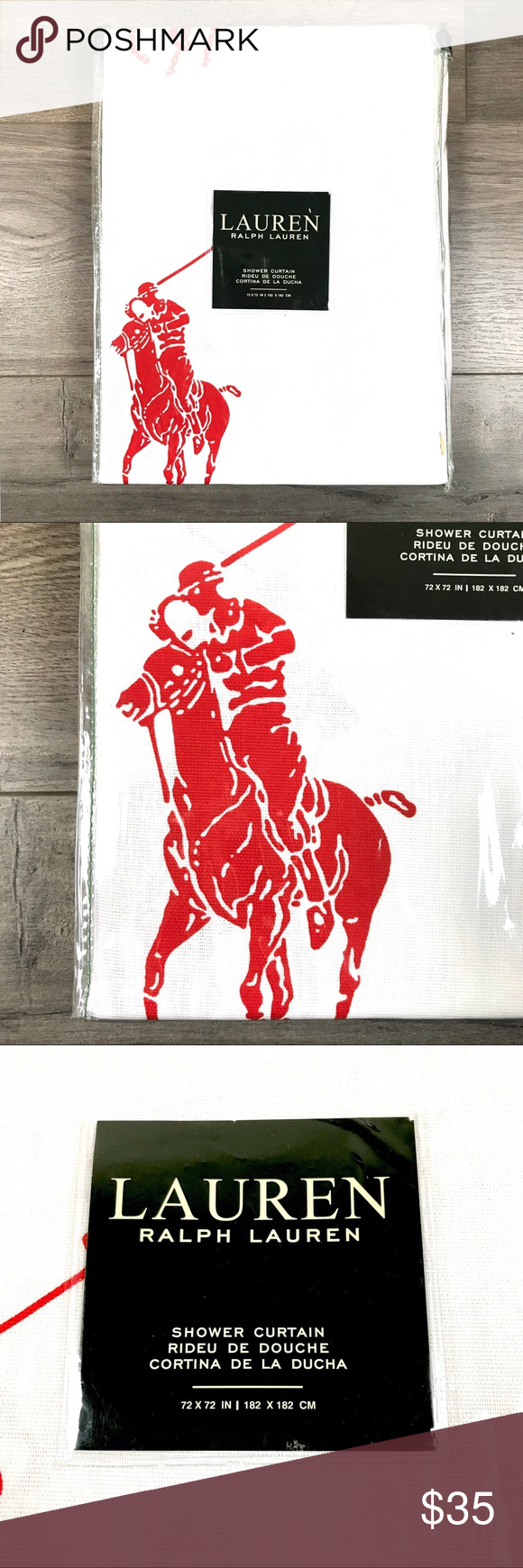 Ralph Lauren New Red Polo Pony Shower Curtain Nwt Polo Pony