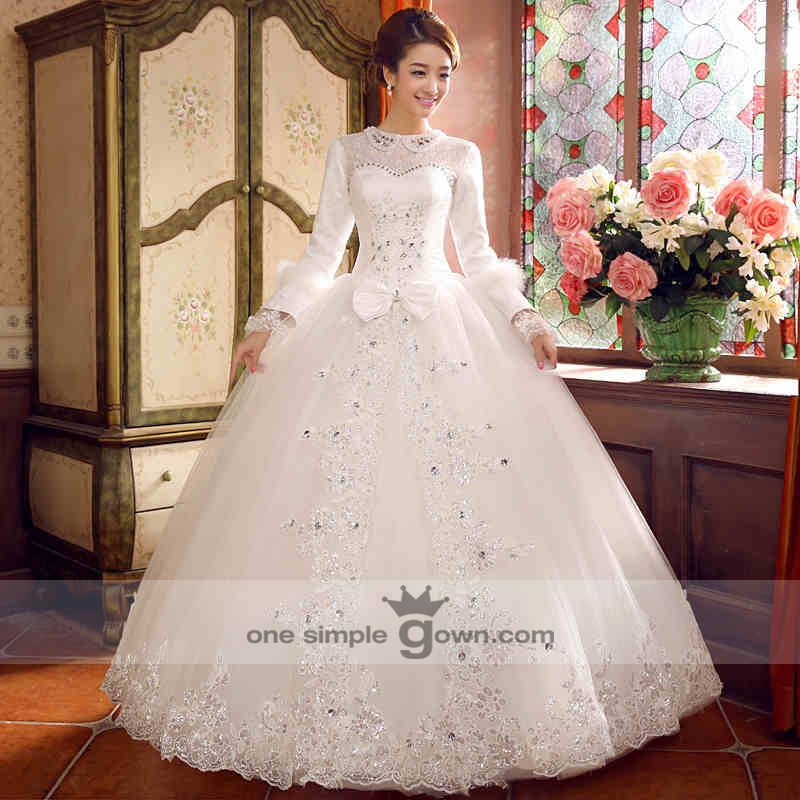 LS006 –Long Sleeve Lace Collar Ball Gown Wedding Gown - by: One ...