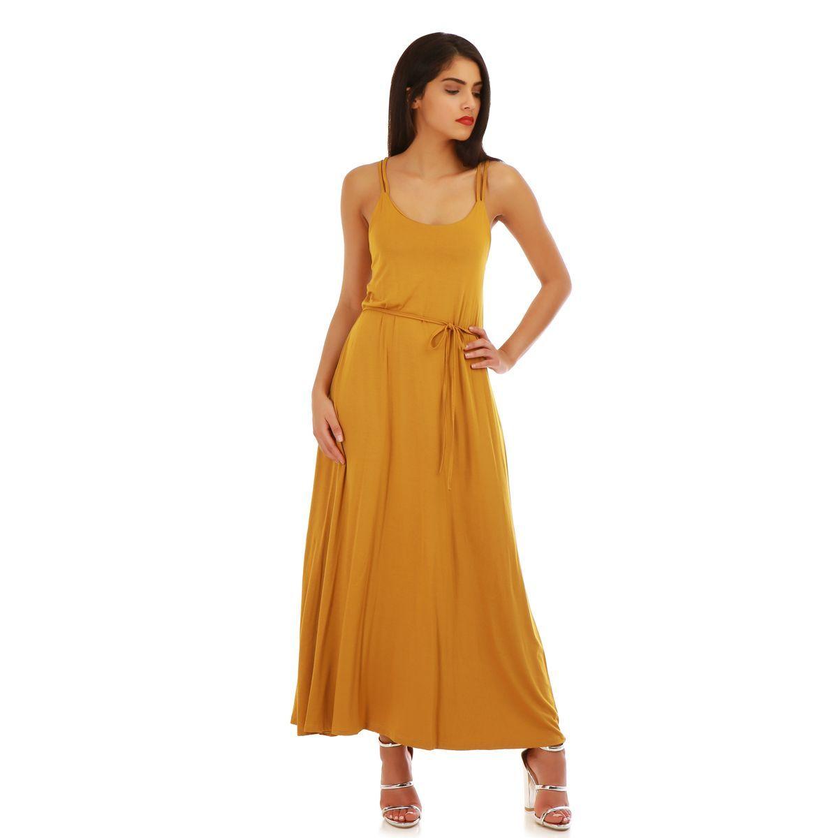 e048ee580a3 Robe jaune longue et fluide femme pas cher la modeuse  jaune ...