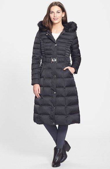 Laundry By Shelli Segal Belted Hooded Long Quilted Coat With Faux