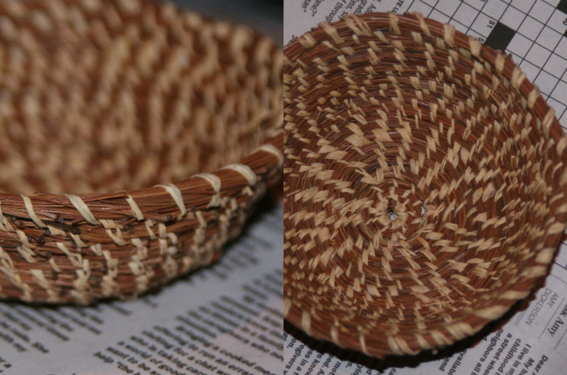 Basket made out of pine needles