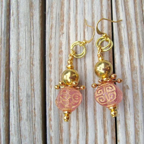 Pink Earrings Pink Jewelry Pink and Gold Jewelry Etched by cdjali, $16.00