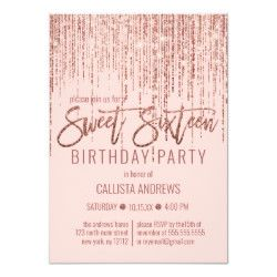 Pink Rose Gold Glitter Fringe Curtain Sweet 16 Invitation | Zazzle.com #curtainfringe