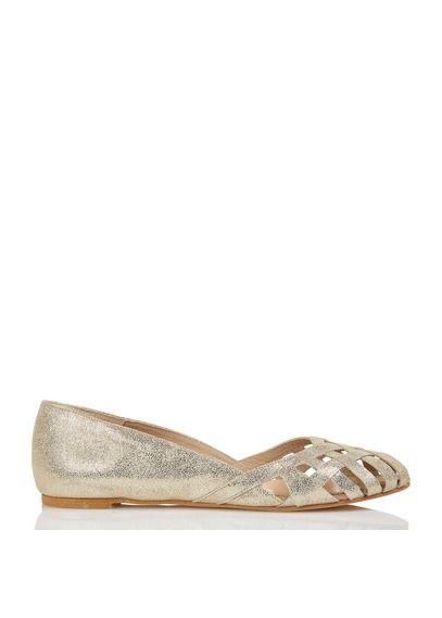 756f5caf70 Ballerines open toe en cuir irisé métallisé Doré by JONAK | Chaussures |  Pinterest