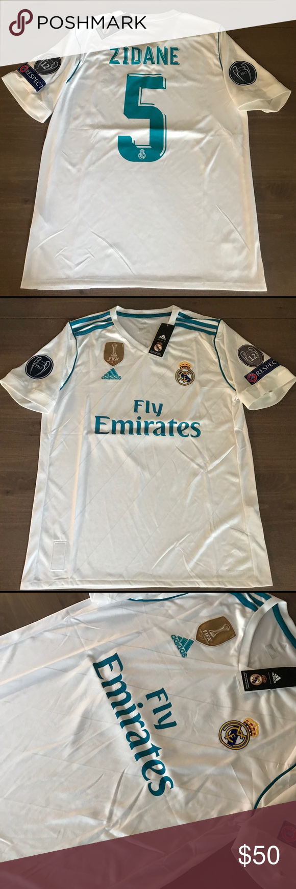 meet 83223 5c8db Real Madrid white Zidane #5 adidas Soccer Jersey Real Madrid ...