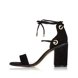 Black Tie Up Block Heel Sandals Tonjaamen Sandals Heels Block Heels Sandal Black High Heel Sandals