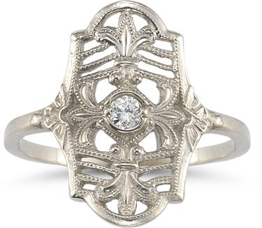 ApplesofGold.com - Vintage Fleur-de-Lis White Topaz Ring in .925 Sterling Silver Jewelry $149.00