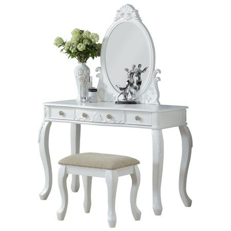 Remarkable Bobkona Vanity Table With Stool Set In White Products In Caraccident5 Cool Chair Designs And Ideas Caraccident5Info