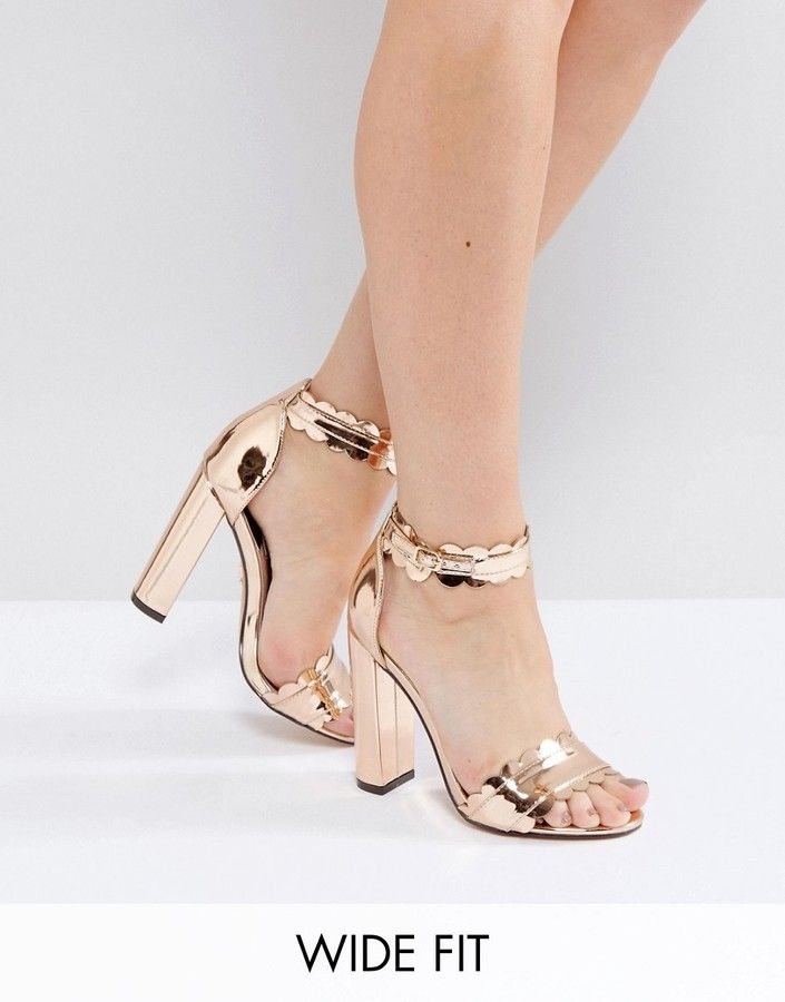 f29e88c930e Lost Ink Wide Fit Rose Gold Heeled Sandals