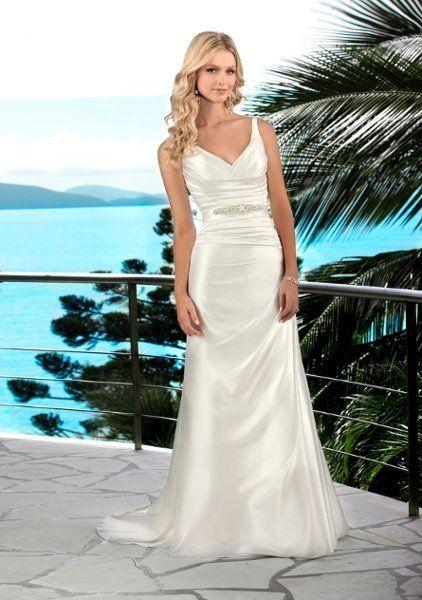 5494  Lavish Satin V neck gown with ruching through waist. Straps create deep v back. Detachable beaded belt accentuates natural waistline.