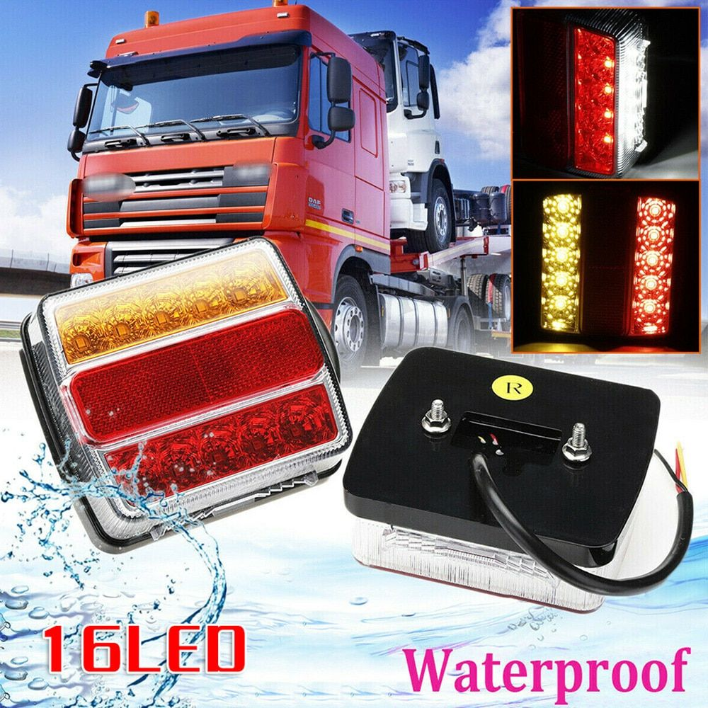 Rear 16 Led Submersible Trailer Tail Lights Lamp Boat Marker Truck Waterproof 12v Submersible Trailer Light In 2020 Truck Lights Submersible Trucks