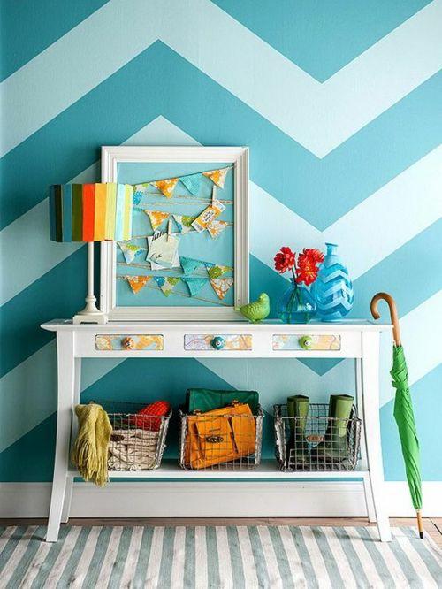 Wandmuster Ideen Wanddekoration Geometrisch Formen Farben Chavron