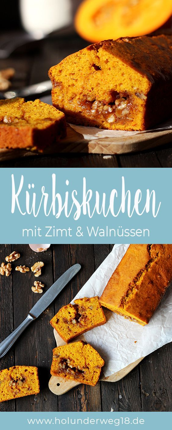 Kürbiskuchen mit Walnusskaramell und Zimt - Holunderweg18