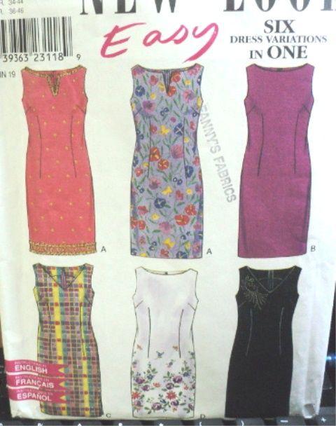 sheath dress pattern 6857 nl six ez sleeveless sheath
