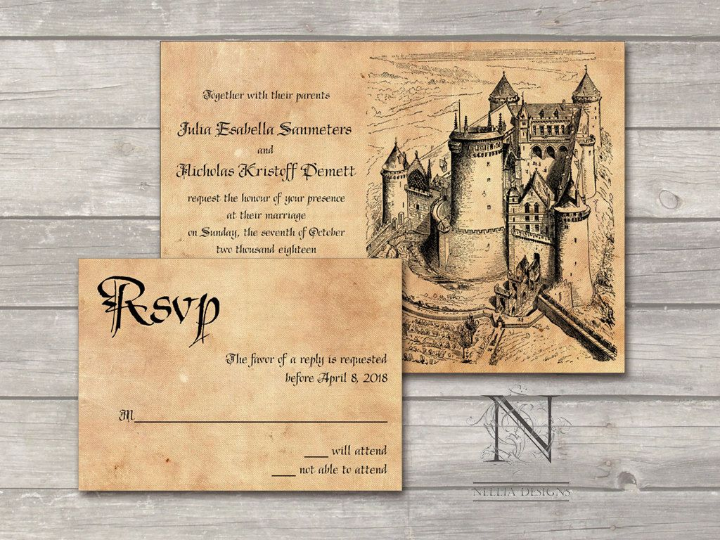 Medieval Wedding Invitation Wording: Fairytale Castle Wedding Invitation Set With Rsvp Cards