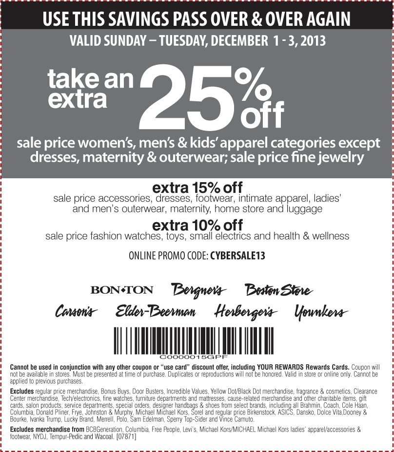 Pinned December 1st Extra 25 Off Sale Apparel At Carsons Bon Ton Sister Stores Or Online Via Promo Cybersale13 Coupon Via The C Coupon Apps App Coupons