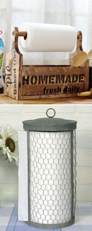 Paper Towel Holder - 22 Farmhouse-Inspired Kitchen Storage Ideas ...