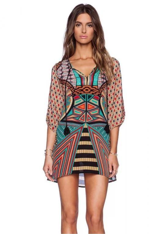 Luzna Sukienka Tunika Oversize Aztecki Wzor Boho 5579493550 Oficjalne Archiwum Allegro Mini Dress Bohemian Vintage Dress Vintage Mini Dresses