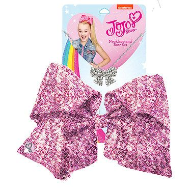 Jojo Siwa 20cm Signature Sequin Bow And Necklace Set Pink Jojo