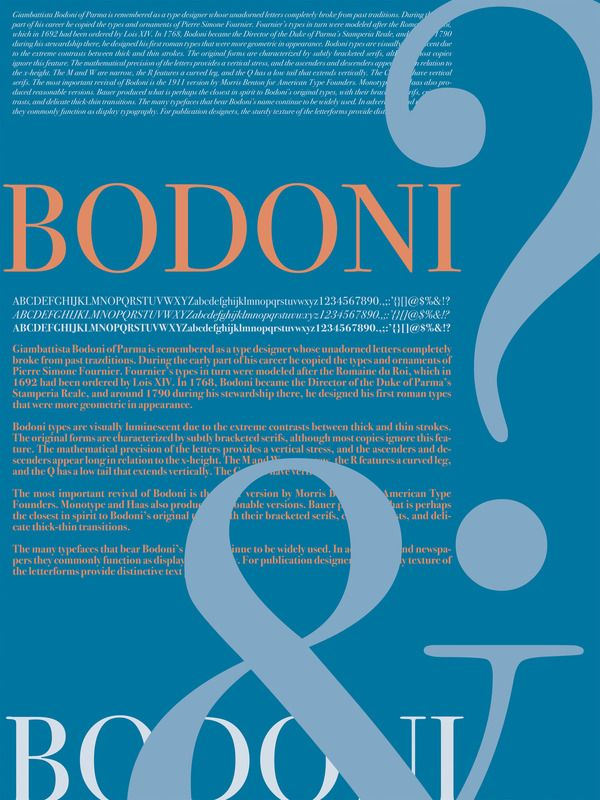 bodoni type specimen poster on behance type and image