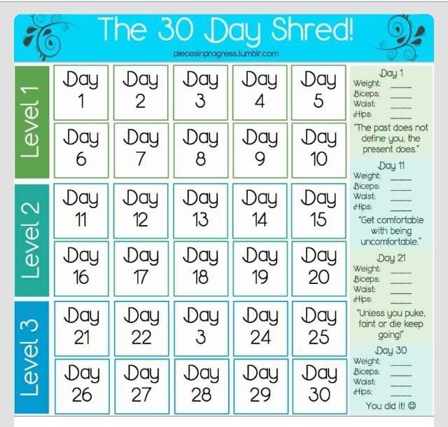 30 Day Beginner Shred Calendar
