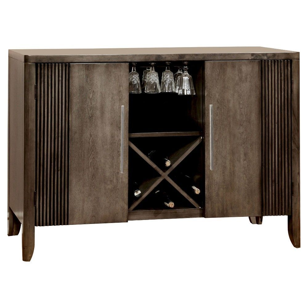 Good Wine Rack Wood/Graystone   Furniture Of America