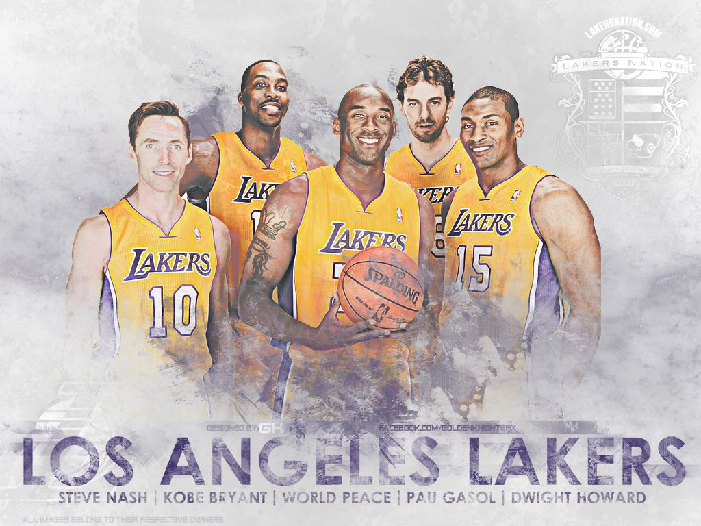 Lakers Starting Lineup Wallpaper The Journey Begins Lakers Nation Lakers Lakers Wallpaper La Lakers