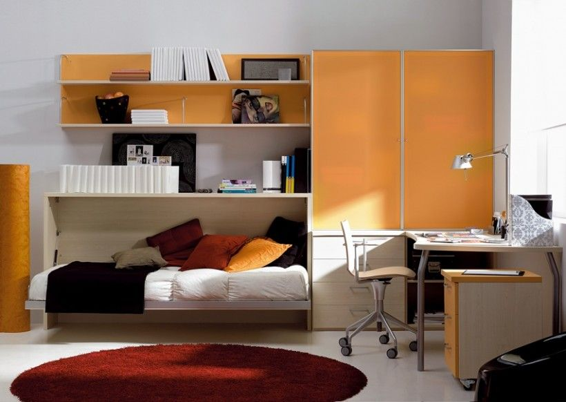 Kids Bedroom : Red Fur Rug Wall Mounted Bunk Bed Upholstered Bed Storages Wall Book Shelves Orange Cabinet Chest Of Drawer Working Area White Swivel Chair Orange Chest Of Drawer Desk Lamp Books Glass Window Adorable and Fun Kids Bedroom Designs Child Bedroom Furniture. Similar Kids Bedroom. Decor Design Child.
