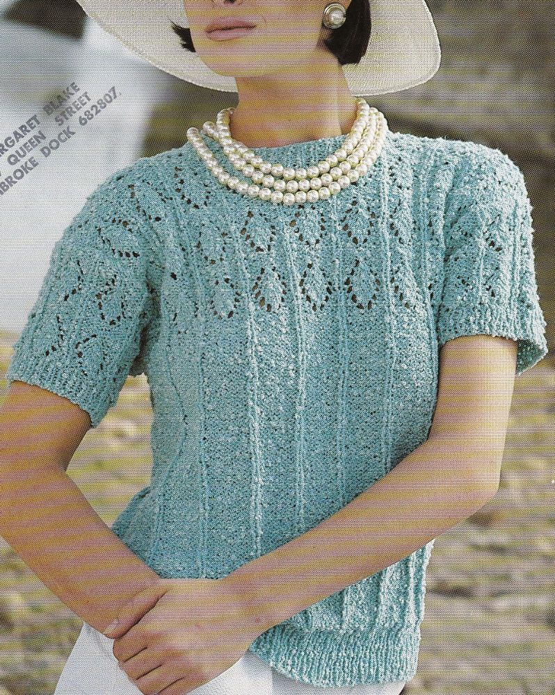 Vintage Knitting Pattern Instructions for Ladies Short Sleeve Spring ...