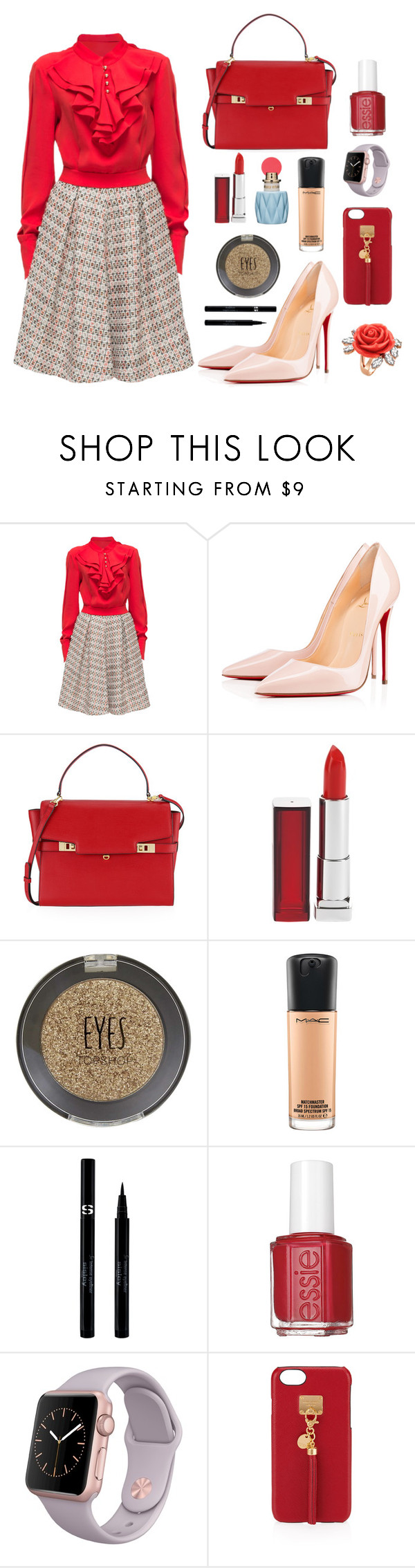 """Red Beauty"" by clarissag-2 ❤ liked on Polyvore featuring Lattori, Christian Louboutin, Henri Bendel, Maybelline, Miu Miu, Topshop, MAC Cosmetics, Sisley, Essie and Mawi"