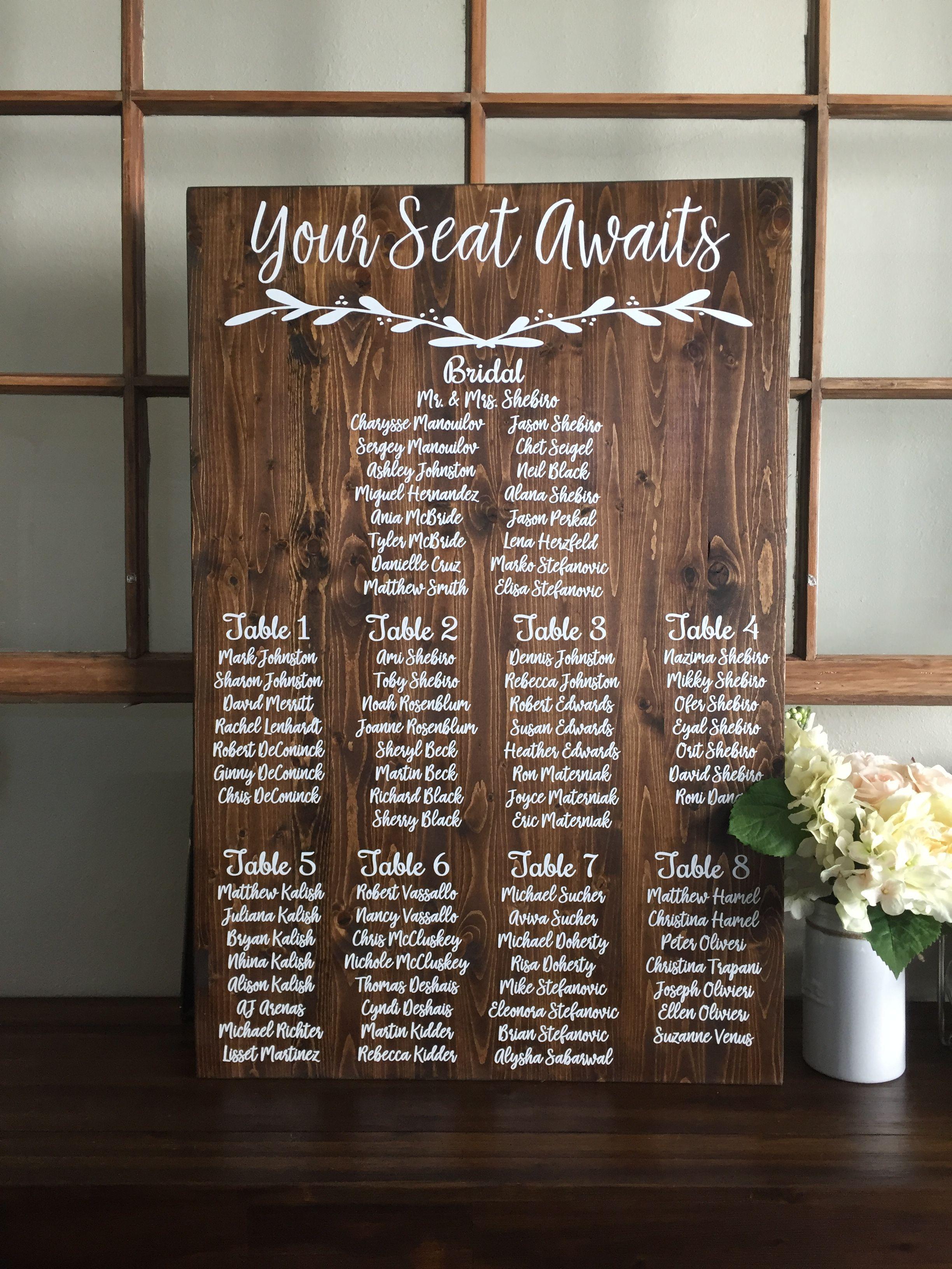 Silver Foil Wedding SEATING CHART custom wedding sign personalised wedding art