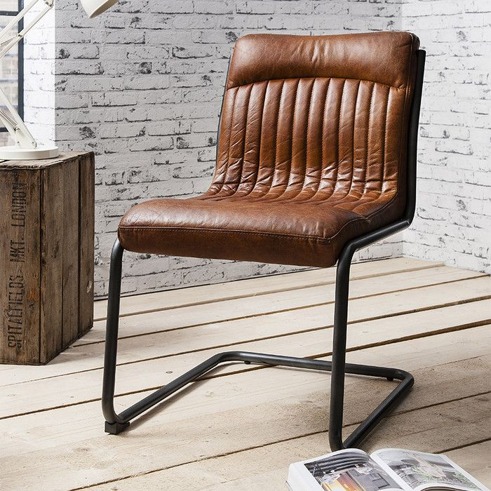 Chisholm Genuine Leather Upholstered Dining Chair Brown Leather Chairs Leather Dining Chairs Leather Chair