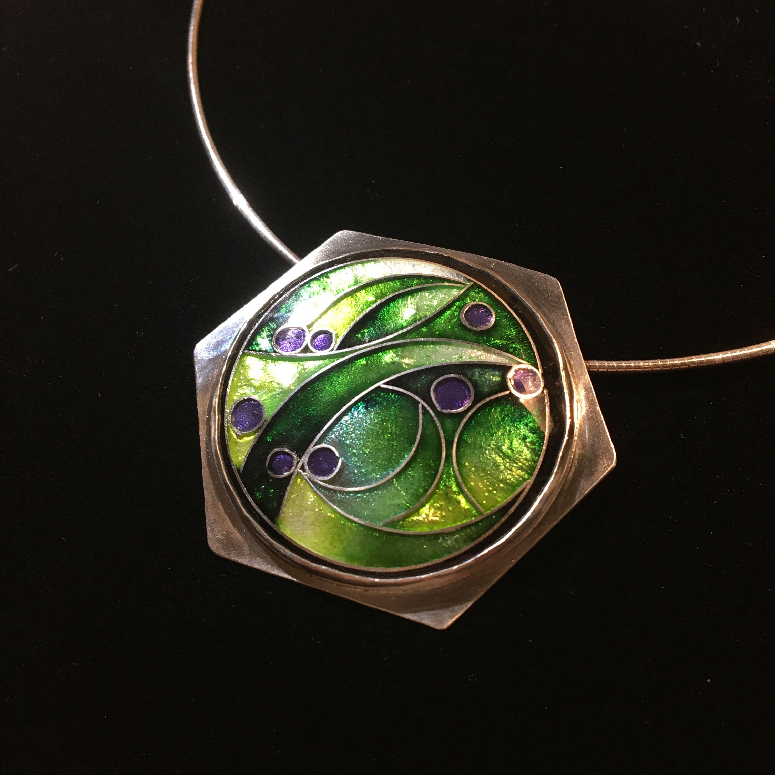 Cloisonné enamel pendant set in sterling silver