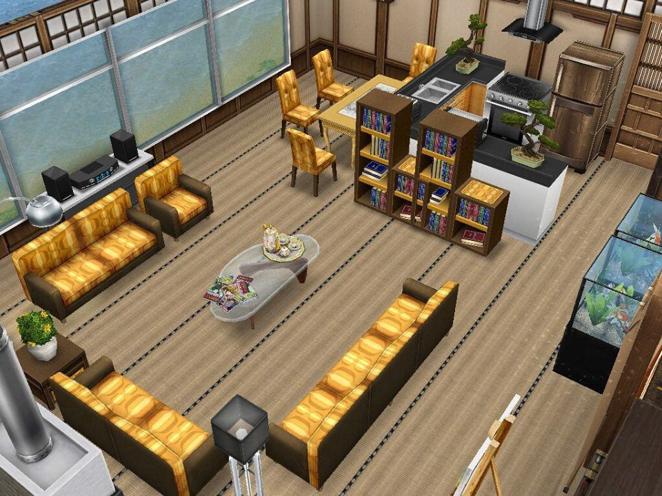 Sims Freeplay I Like The Yellow And Brown Scheme Along With Kitchen Living Room