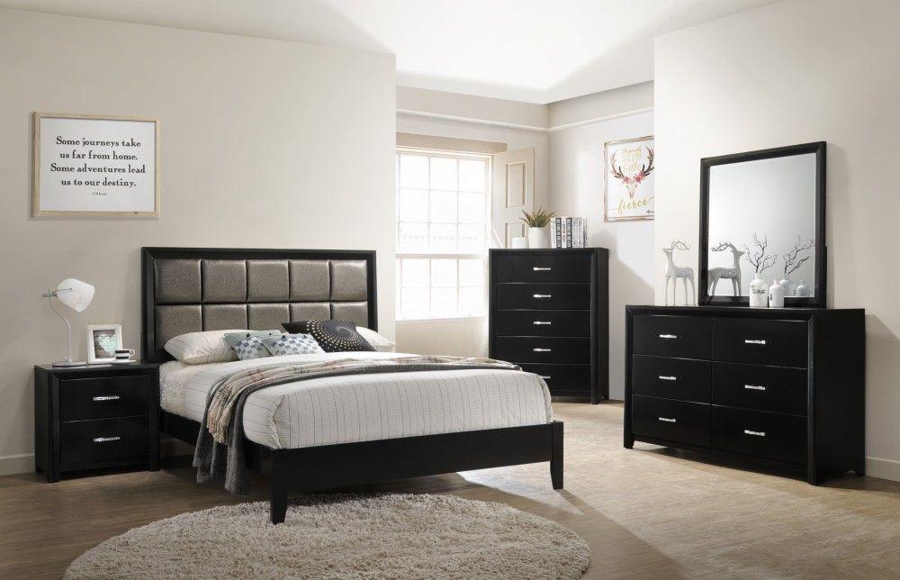 Black Gold Glitter Queen Bed Dresser Mirror B450 Bedroom Sets Bedroom Sets Black Gold Bedroom Gold Bedroom