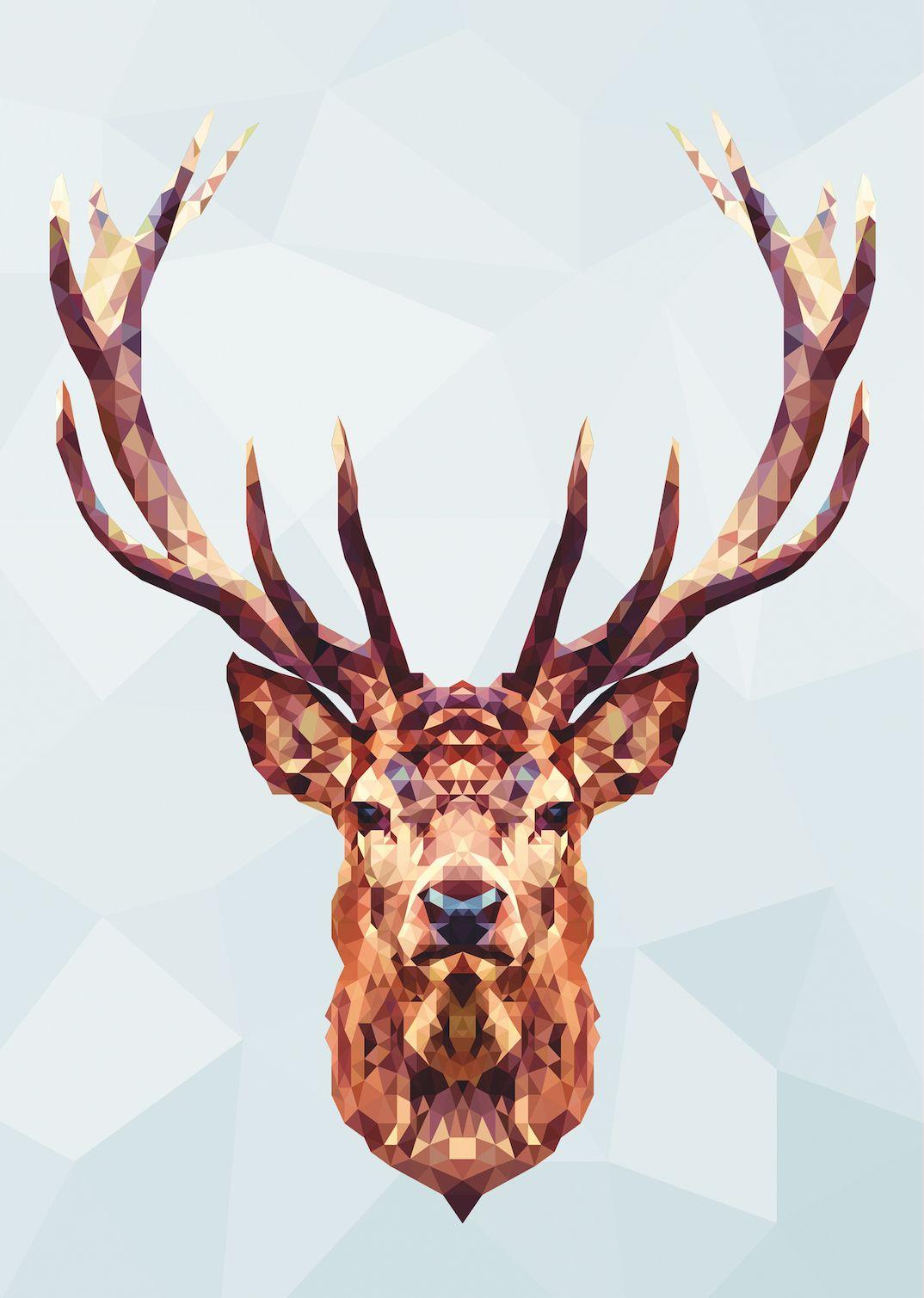 Print Im Polygonstil Von Studio Vieleck Motiv Hirschkopf Poly Polygon Poster Deer Polygon Kunst Hirsch Grafiken
