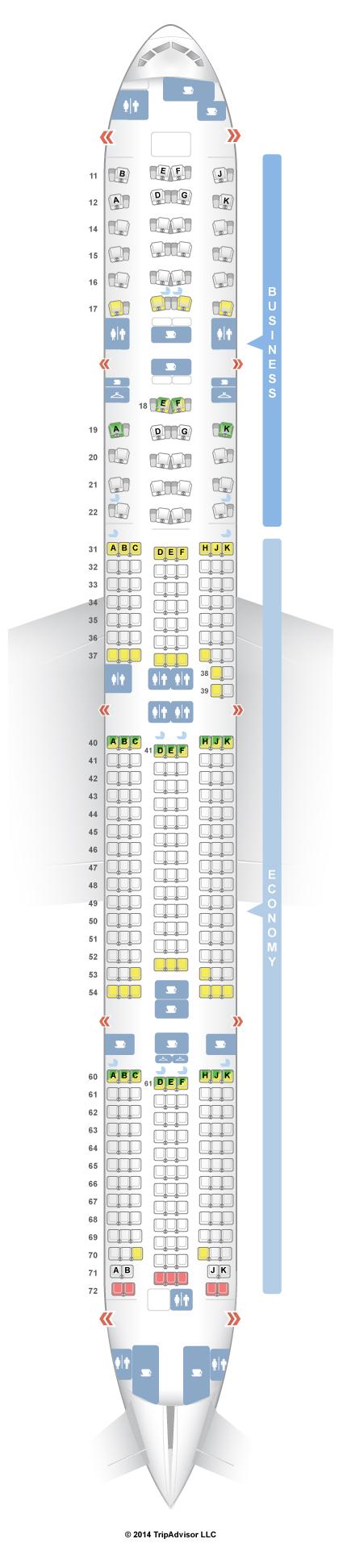 SeatGuru Seat Map THAI Boeing 777-300ER (77W) | Flugzeug