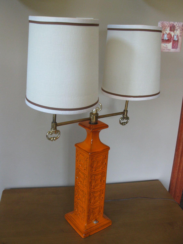 Mid Century Double Table Lamp Ceramic Lamp Orange Ceramic Base